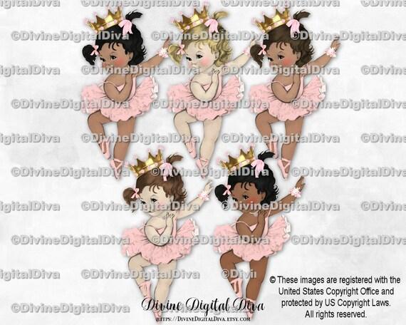 Clipart Instant Download Ballerina Pink Tutu Ballet Shoes Gold Tiara Baby Girl Curly Hair Bun 3 Skin Tones