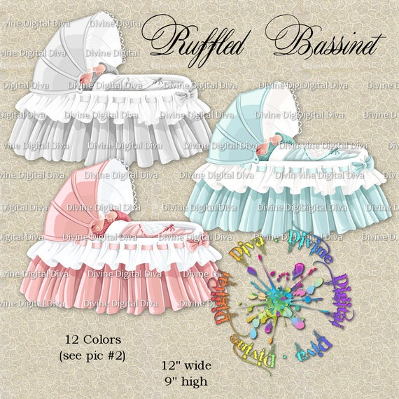 73925cdb9 12 Colors Ruffled Bassinets Pink Blue Ivory   More