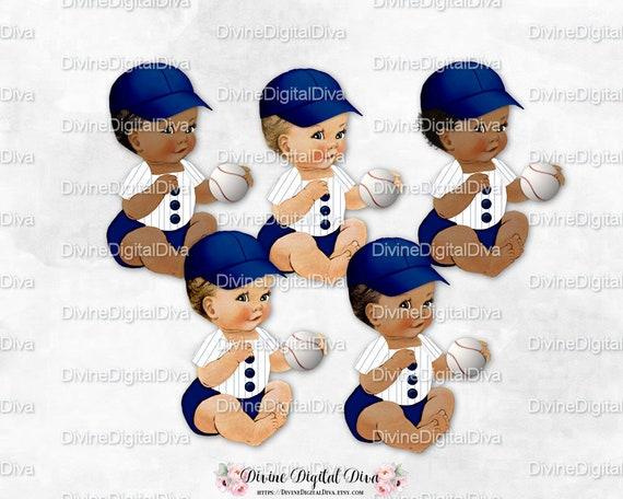 Baseball Player Cap Stripe Shirt Navy Blue White Sitting Baby Boy 3 Skin Tones Clipart Instant Download