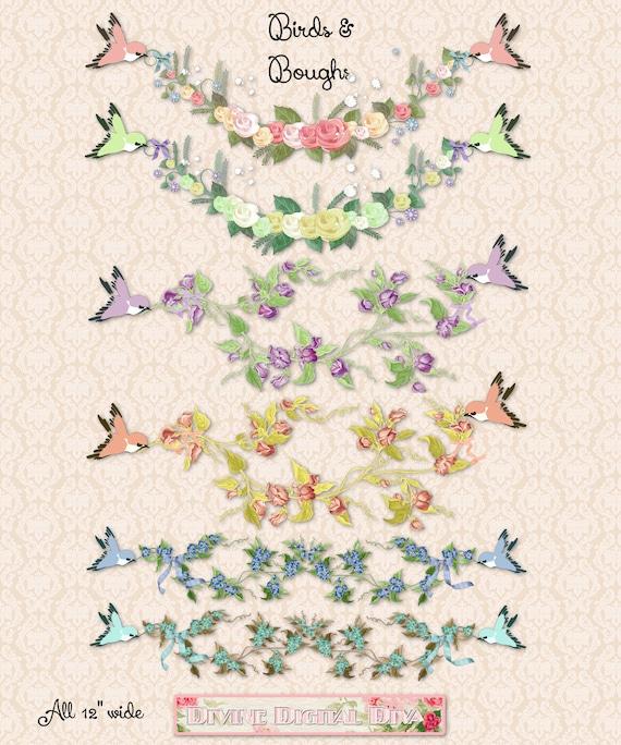 Vögel Bögen äste Blumen Ranken Clipart Sofortiger Etsy