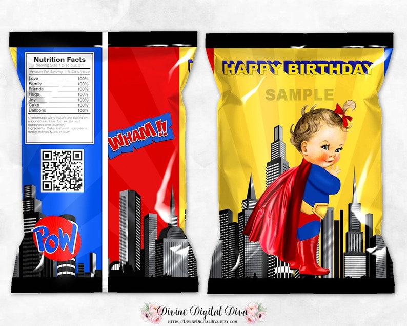 Super Girl Printable Chip Bags Digital Instant Download Superhero Red Blue Yellow Cape Baby Girl Light Skin Tone