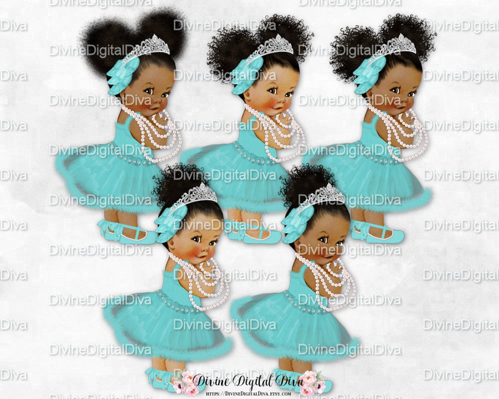 swan lake ballerina princess aqua turquoise ballet shoes tutu pearls tiara | vintage baby girl babies of color | clipart instant