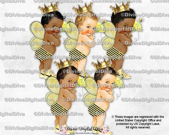 Bumble Bee Little Prince African American Set Clipart Instant Download Gold Crown Bee Outfit w Wings and wout