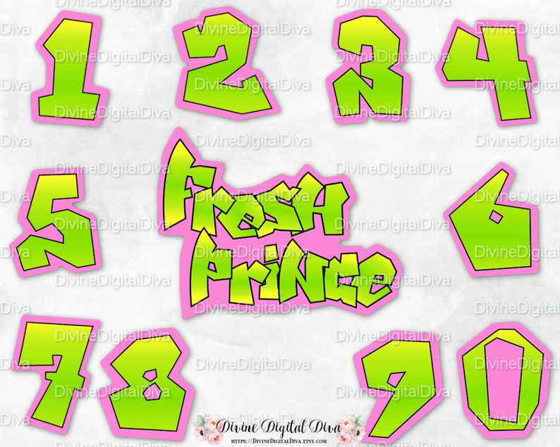 Fresh Numbers and Sign | Neon Green Yellow Pink | 90's Hip Hop | Instant  Download PNG Digital