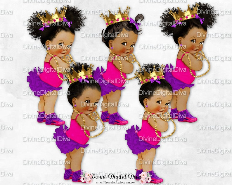 ff8a426178bcd Vintage Baby Girl Hot Pink & Purple Ruffle Pants Pearls Gold Crown Sneakers  | 3 Skin Tones | Clipart Instant Download