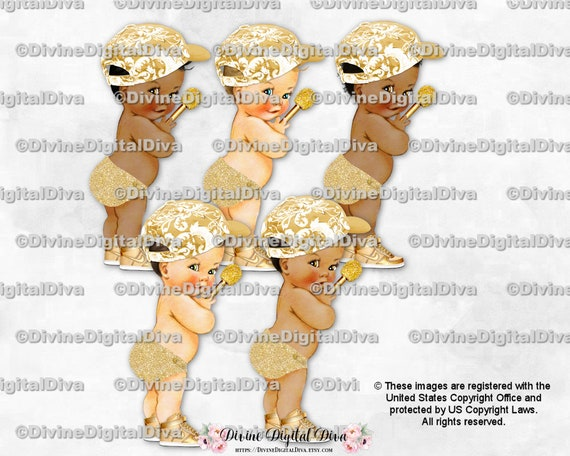 Little Prince Light Blue Gold Diaper Cap Sneakers Gold Chain Necklace Mic Microphone Baby Boy 3 Skin Tones Clipart Instant Download