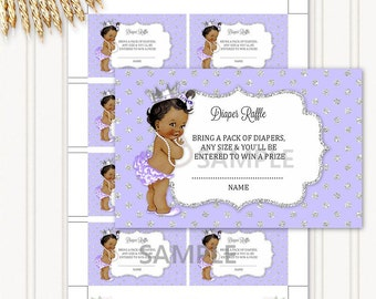 Diaper Raffle Tickets | African American Princess Silver & Lavender | Digital Instant Download