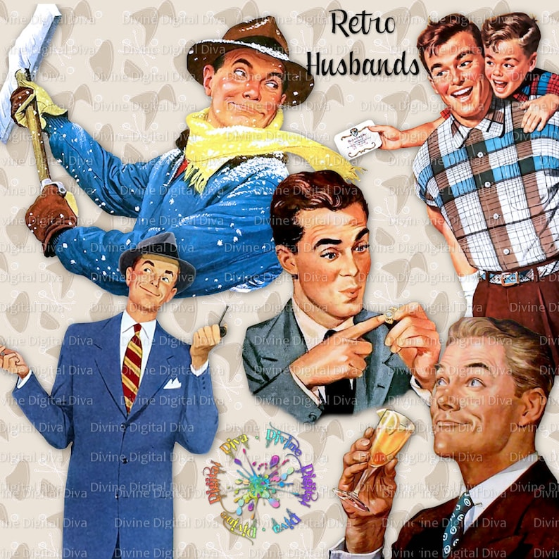 119da8a1afd Retro Husbands 50s Vintage Mid Century Modern Men Clipart
