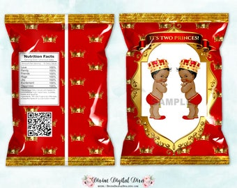 Printable Chip Bags | 2 Little Princes Twins Red & Gold | African American Vintage Baby Boy | Digital Instant Download