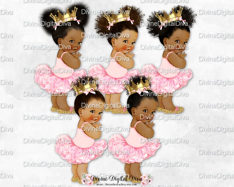 81eb29490 Princess Ballerina Pink Gold Shoes & Crown Babies of Color | Etsy