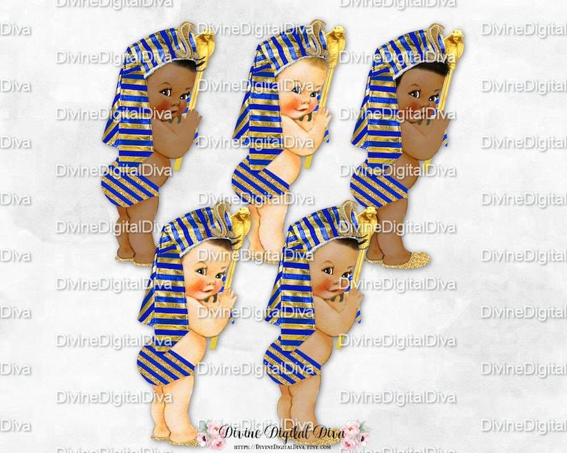 huge selection of 42c96 2a051 Piccolo Principe Egiziano Faraone Reale Blu & Oro Headdress Scettro Bambino  Ragazzo 3 Toni della Pelle Download istantaneo clipart