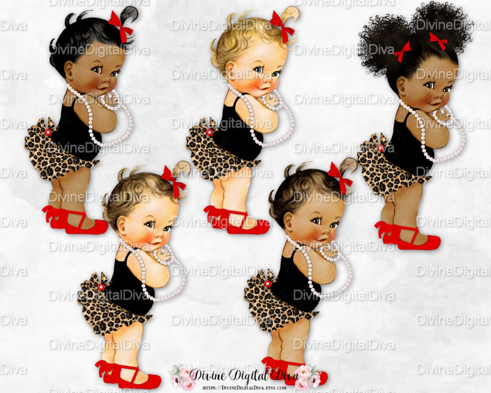 princess ruffle pants leopard print red ballet shoe black shirt | vintage baby girl | 3 skin tones afro puffs | clipart instant