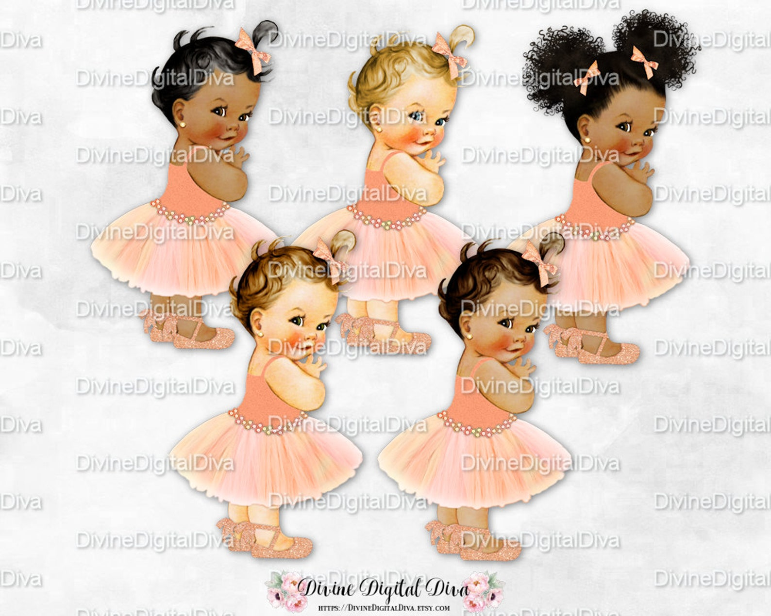 princess peach ivory gold tutu ballet shoe | vintage baby girl afro puffs | clipart instant download