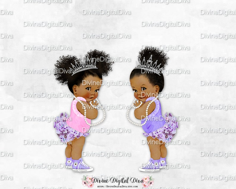 ba23443e6819c Floral Ruffle Pants Lavender Pink Sneakers Tiara Sisters Twins Girls    African American Princess Puffs Bun   Clipart Instant Download
