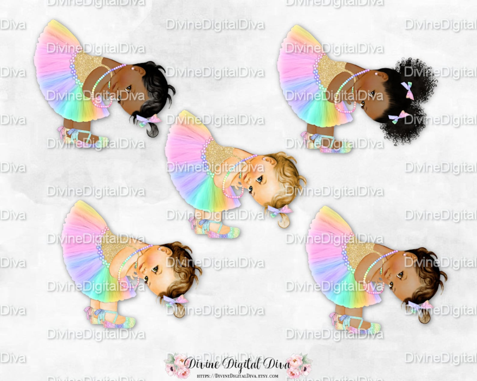 princess pastel rainbow tulle tutu ballet shoe gold shirt bending | vintage baby girl afro puffs | clipart instant download