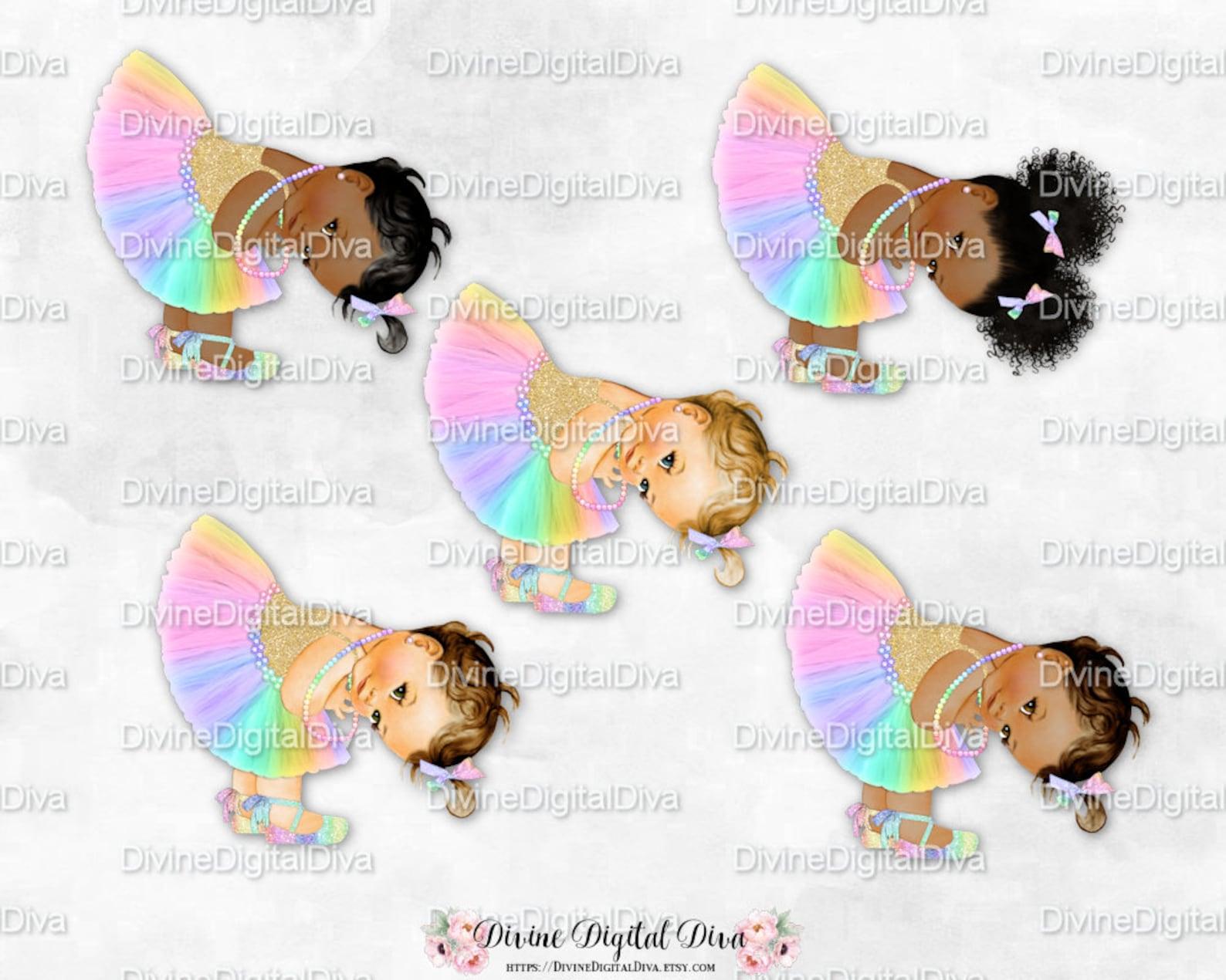 princess pastel rainbow tulle tutu ballet shoe gold shirt bending   vintage baby girl afro puffs   clipart instant download