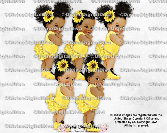 Vintage Baby Girl Babies of Color Clipart Instant Download Princess Ruffle Pants Bahamas Flag Turquoise Yellow Black Sneakers Gold Crown