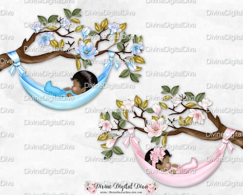 Sleeping Baby Magnolia Tree Branch Pink Light Blue Hammock Etsy