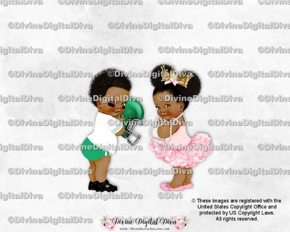 Dark Skin Tone Gender Reveal Twins Vintage Baby Football /& Cheerleader Green Pink Clipart Instant Download Boy Girl