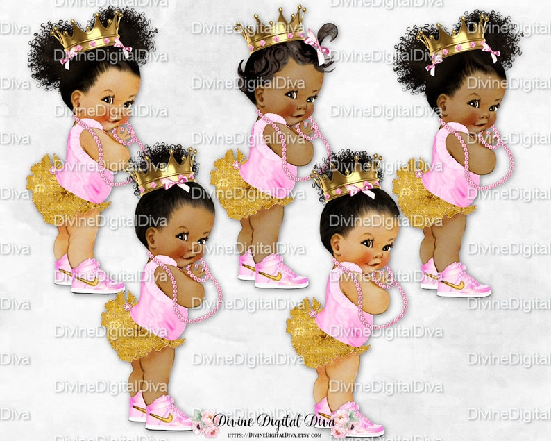 bc325c0d0f3fe Princess Ruffle Pants Pink & Gold High Top Sneakers Crown Pearls | African  American Skin Tones Afro Puffs Bun | Clipart Instant Download