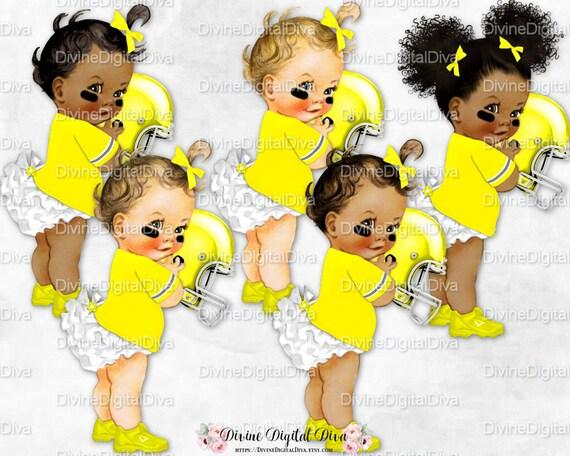 Vintage Baby Girl 3 Skin Tones Helmet Jersey Clipart Instant Download Ruffle Pants Football Maroon Beige