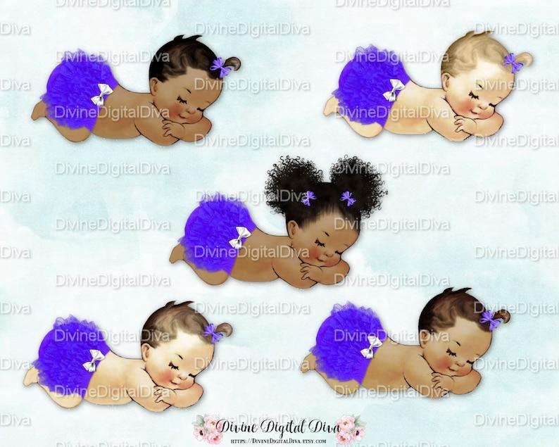 edf8e8a74cb5 Sleeping Baby Girl Purple Ruffle Pants White Bow 3 Skin