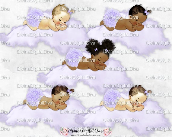 Sleeping Baby Girl Lavender Lace Ruffle Pants White Bow Diamond Bling Pacifier Clipart Instant Download 3 Skin Tones