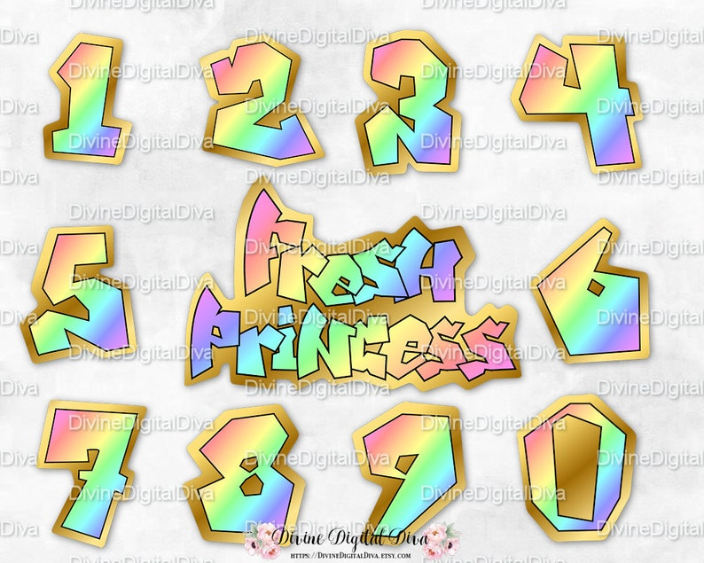 90/'s Hip Hop Instant Download PNG Digital Rainbow /& Gold Fresh Princess Numbers and Sign