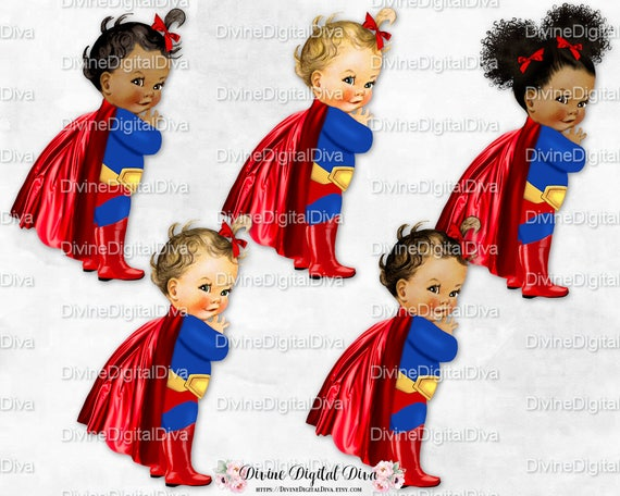Clipart Instant Download Baby Girl 3 Skin Tones Spider Superhero Red Blue Boots Web Mask