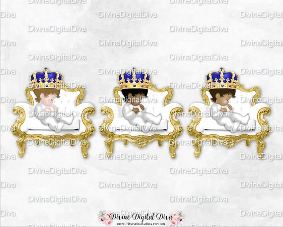 Sleeping Little Prince White Gold Chair Royal Blue Crown Gems Clipart Instant Download Baby Boy 3 Skin Tones