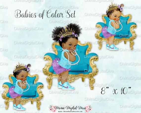 Baby Girl W Stuhl Turkis Teal Lila Gold Tiara High Top Sneaker Perlen Babys Von Farbe Set Clipart Instant Download