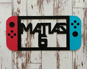 PERSONALIZED Nintendo Switch Gamer inspired Name and Number Die Cut/Party Decor/Centerpiece/Cake Topper - Glitter