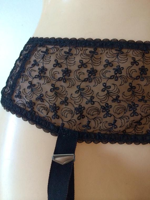 Vintage black lace garter belt