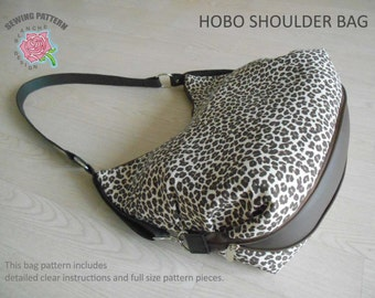 Hobo Shoulder Bag Sewing Pattern with Expandable Bottom, Strappy Expanding Hobo Bag PDF Pattern