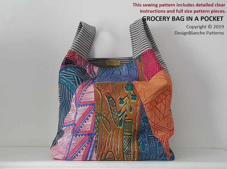 Grocery Bag In A Pocket Sewing Pattern Reusable Shopping Bag