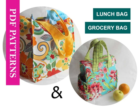 2 Pdf Sewing Pattern Set Insulated Lunch Bag Pattern Etsy