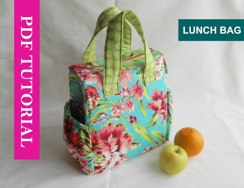 Insulated Lunch Bag PDF Pattern Tote Bag Sewing Pattern PDF image 0