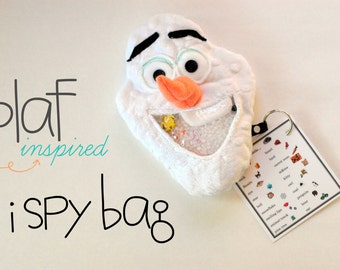 SALE Olaf inspired Snowman  I Spy game, plush and cuddly, get the wiggles out, sensory toy, quiet game