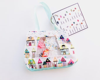 Whimsical Houses I Spy bag, sensory toy, seek and find game, quiet game