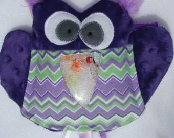 purple OWL I Spy bag, plush and cuddly, get the wiggles out, sensory toy, quiet game