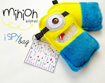 MINION inspired I Spy game, plush and cuddly, get the wiggles out, sensory toy, quiet game