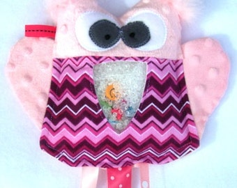 pink OWL I  Spy game, plush and cuddly, get the wiggles out, sensory toy, quiet game