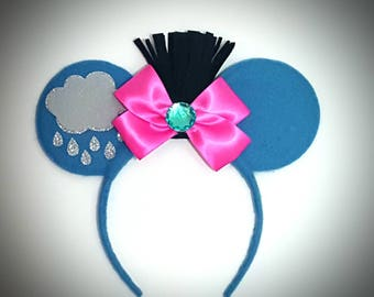 Eeyore inspired Minnie Mouse Ears Headband Winnie The Pooh/Donkey/Rain/Cloud/Blue/Birthday/Party/Girls