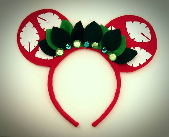 Lilo Red Palm inspired Minnie Mouse Ears Headband  Stitch/Leaf/Crown/Princess/Hawaiian/Glitter/Birthday