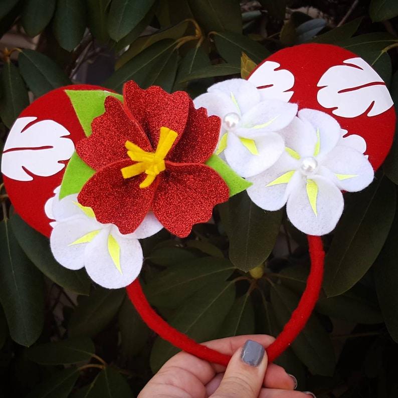Lilo Red Hibiscus Flower inspired Minnie Mouse Headband  Stitch/Ohana/Hawaiian Princess/polynesian