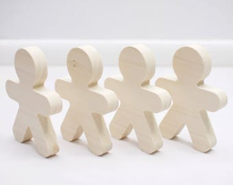 Set of 4 Unfinished Wooden Gingerbread People