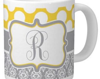 Yellow and Grey Damask Coffee Mug Template