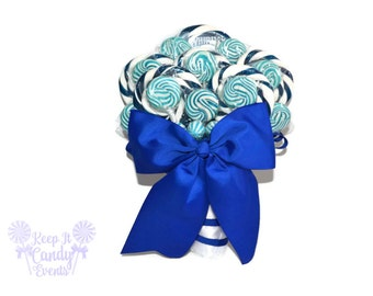Customizable Royal Blue Wedding Bouquet, Royal Blue Bridal Wedding Bouquet, Lollipop Bouquet, Candy Bouquet, Blue Lollipop Bouquet, Navy