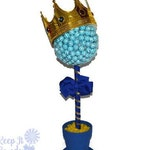 Large Lollipop Prince Topiary, Candy, Lollipop, Prince, King, Centerpiece, Birthday, BabyShower, Its a Boy, Candy Buffet, prince centerpiece