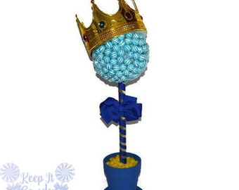Large Lollipop Prince Topiary, Candy, Lollipop King Centerpiece, King Candy Buffet, Prince Baby Shower Theme, King Theme, Boy Baby Shower